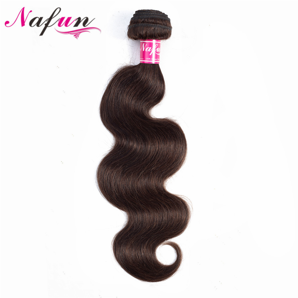 NAFUN Hair Pre-Colored Brazilian Body Wave Hair Bundles 100% Non Remy Human Hair Wefts #2 #4 Sew In Hair Extensions No Tangle