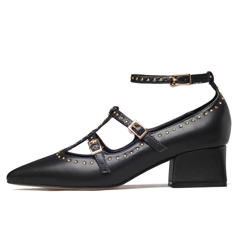 Hebilla Tamaño Zapatos Planos De Mujer Casual Beige Damas 34 Gran Enmayla Remaches black Cr357 Correa Laether 43 Ballet wAHSxgAq8