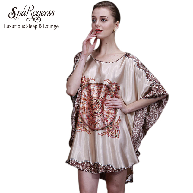 SpaRogerss Luxury Women Nightgown 2017 New Summer Style Silk Ladies ...