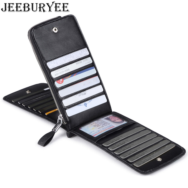 JEEBURYEE Women Credit Card Holder Wallet Leather Long Slim Large Capacity RFID Female Multi Card Wallet Zipper Coin Purse