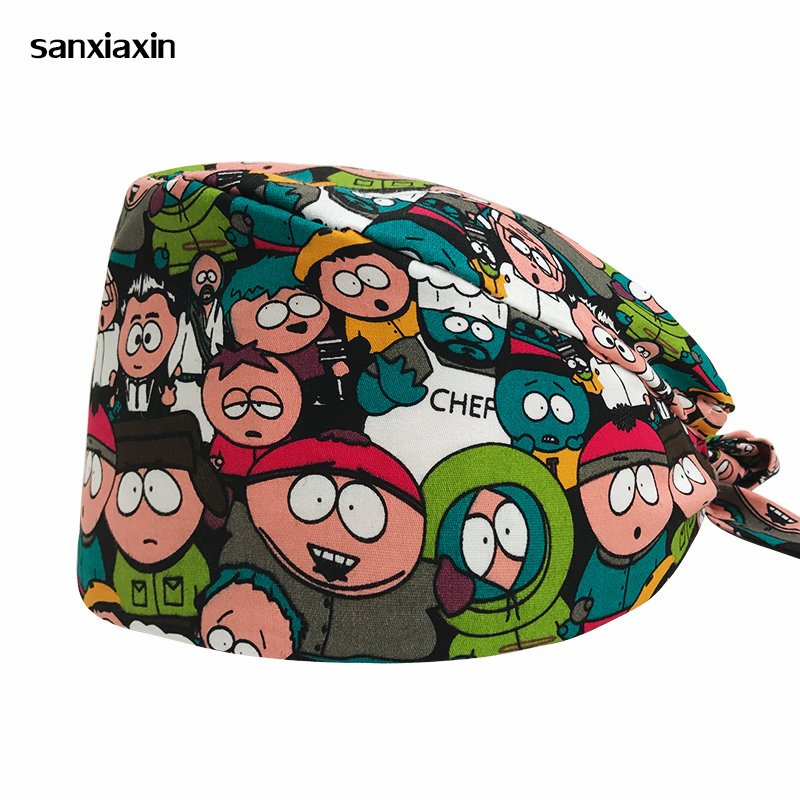 Sanxiaxin Male Doctor Surgical Cap Anime Print Scrub Cap Pet Grooming Doctor Work Cap Cotton Medical Use Doctor Women Nurse Cap