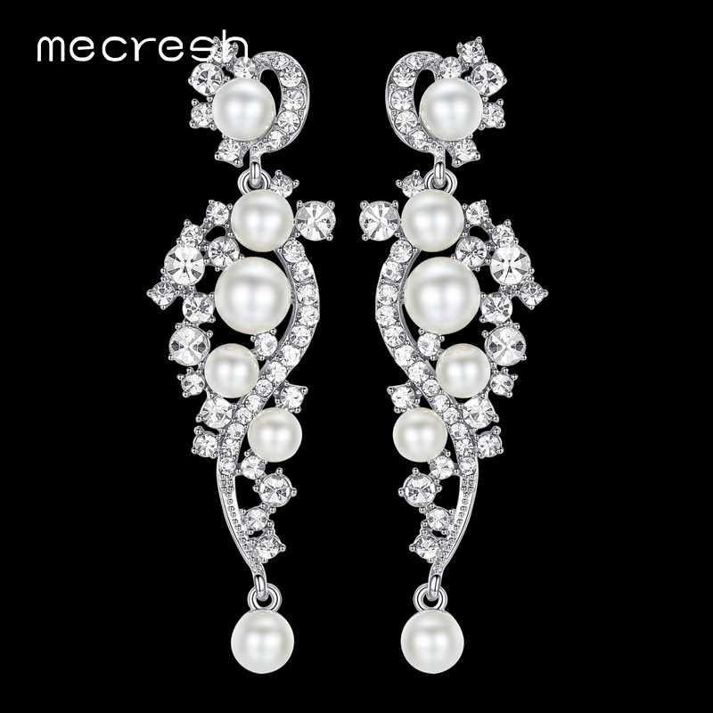 Mecresh Luxury Simulated Pearl Long Earrings for Women Silver Color Plant Crystal Pendants Drop Earrings Wedding Jewelry MEH777