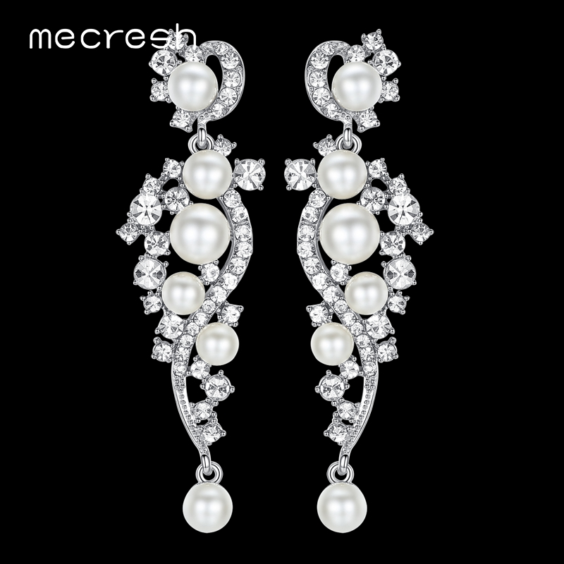 Mecresh Luxury Simulated Pearl Long Earrings för kvinnor Silver Color Plant Crystal Pendants Drop Earrings Bröllopsmycken MEH777