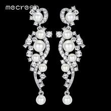 Mecresh Luxury Simulated Pearl Long Earrings for Women Silver Color Plant Crystal Pendants Drop Earrings Wedding Jewelry MEH777