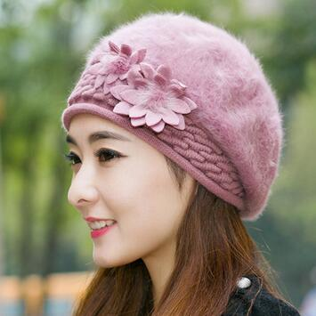 Winter Christmas Warm Hats Caps Beret Rabbit Hair Casual Caps Allmatch Berets Stewardess Hats