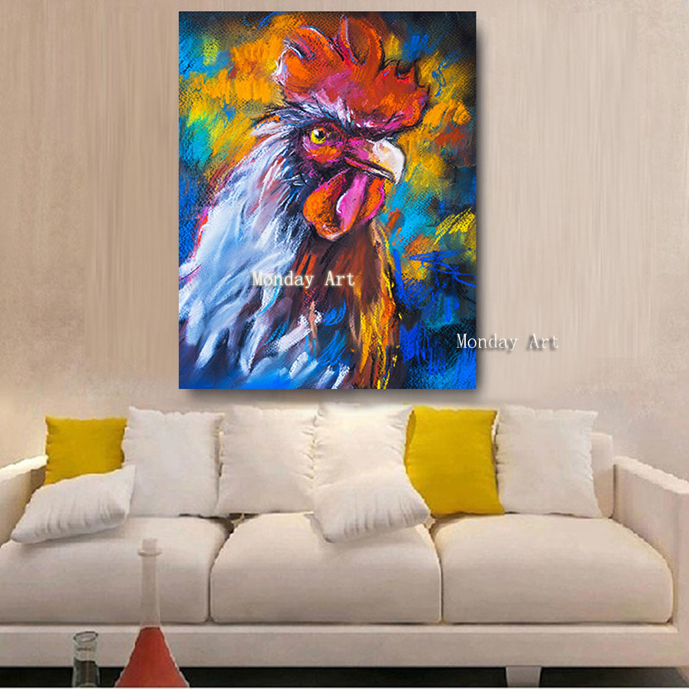 J Embelish-HD-Print-Canvas-Oil-Paintings-For-Living-Room-Colorful-Rooster-On-A-Cardboard-Animals-Wall (7)