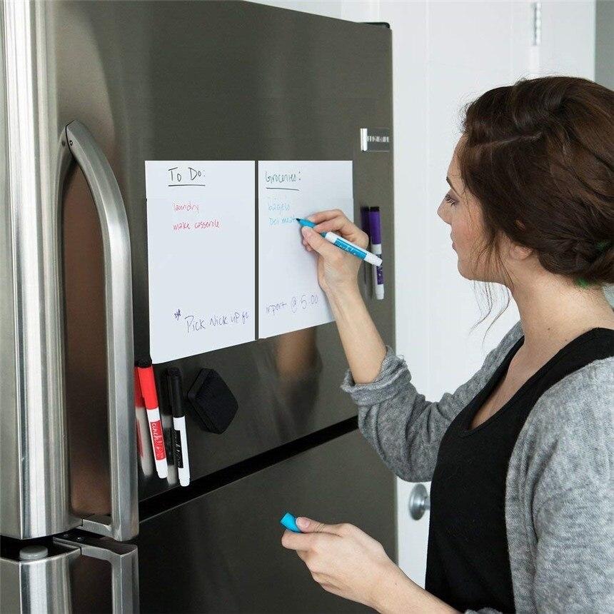Image 2 - 148mmx210mm Magnetic Dry wipe Whiteboard Kitchen Fridge Magnets Marker Pens Eraser Message White Board Memo Pad Fridge Sticker-in Fridge Magnets from Home & Garden