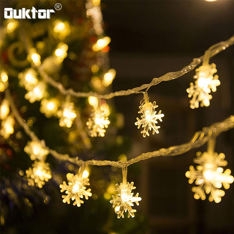 New Years 10M LED String Lights Christmas Tree Snowflakes Fairy Garlands Lights indoor Xmas Party Home Holiday Decoration