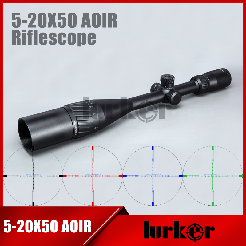 Tactical 5 20X50 AOIR Optics Riflescope Red Green Blue Color Reticle Illumination Rifle Scope For Airsoft