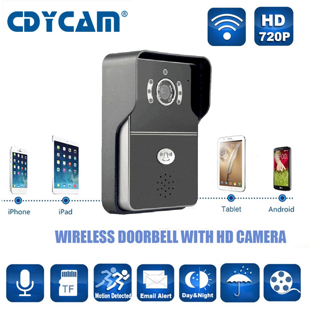 Cdycam wifi smart vidéo interphone 1 0mp hd 720 p ip caméra sans fil interphone vidéo