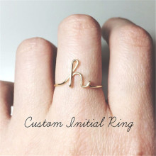 Unisex Gold Silver Color A Z 26 Letters Initial Name Rings for Women Men Geometric Alloy Creative Finger Rings Jewelry Wholesale-in Rings from Jewelry & Accessories on AliExpress