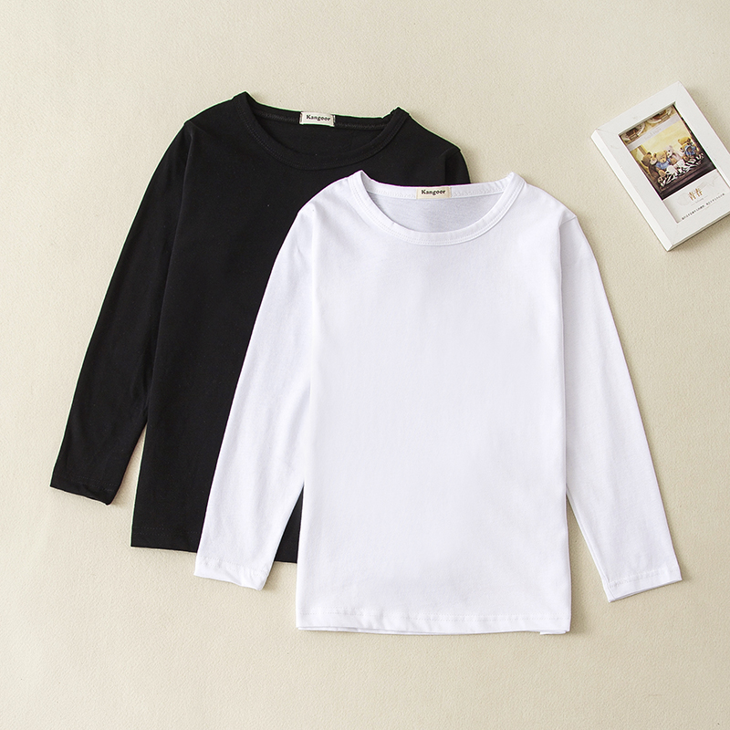 Wholesale Kids Long Sleeve T Shirt Solid Color Cotton T Shirt Baby Girl Boy Top Tee Children Clothing 5pcs/Lot Can Mix Order image
