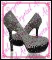 Aidocrystal Ручной люкс bling белый серый черный кристалл высокий каблук туфли 2016 для женщин