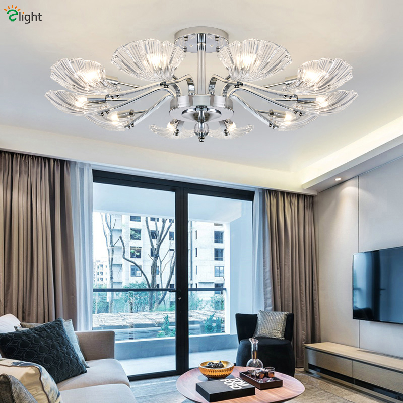 Modern Luxury Chrome Metal Led Chandelier Lighting Shell Glass Living Room Led Pendant Chandeliers Lights Bedroom Hanging Lamp|Chandeliers| |  - title=