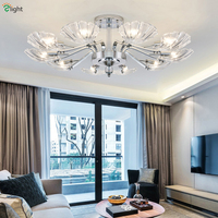 Modern Luxury Chrome Metal Led Chandelier Lighting Shell Glass Living Room Led Pendant Chandeliers Lights Bedroom Hanging Lamp