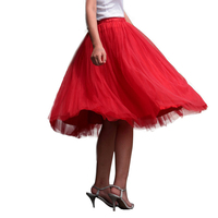 אדום טול חצאית בנות באורך הברך חצאיות טוטו למבוגרים נשים מקסימום אימפריה שמלות לאישה 7 שכבות Boll 2017 האביב Custom עשה