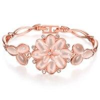 Người phụ nữ bán buôn cô gái friendship flower bracelet màu vàng hồng đồ trang sức với có thể điều chỉnh chuỗi mở rộng tặng sister