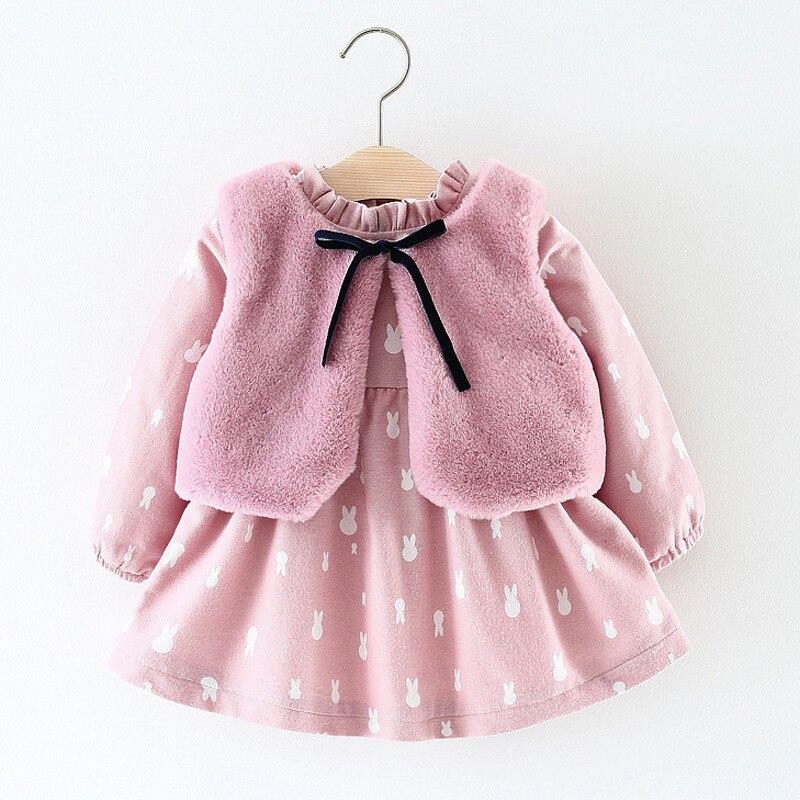 Girl Costume Suit Beautiful Princess Dress Suit Plus Velvet Dress Plush Bow Vest Winter Girl Suit Childrens Clothes beautiful darkness