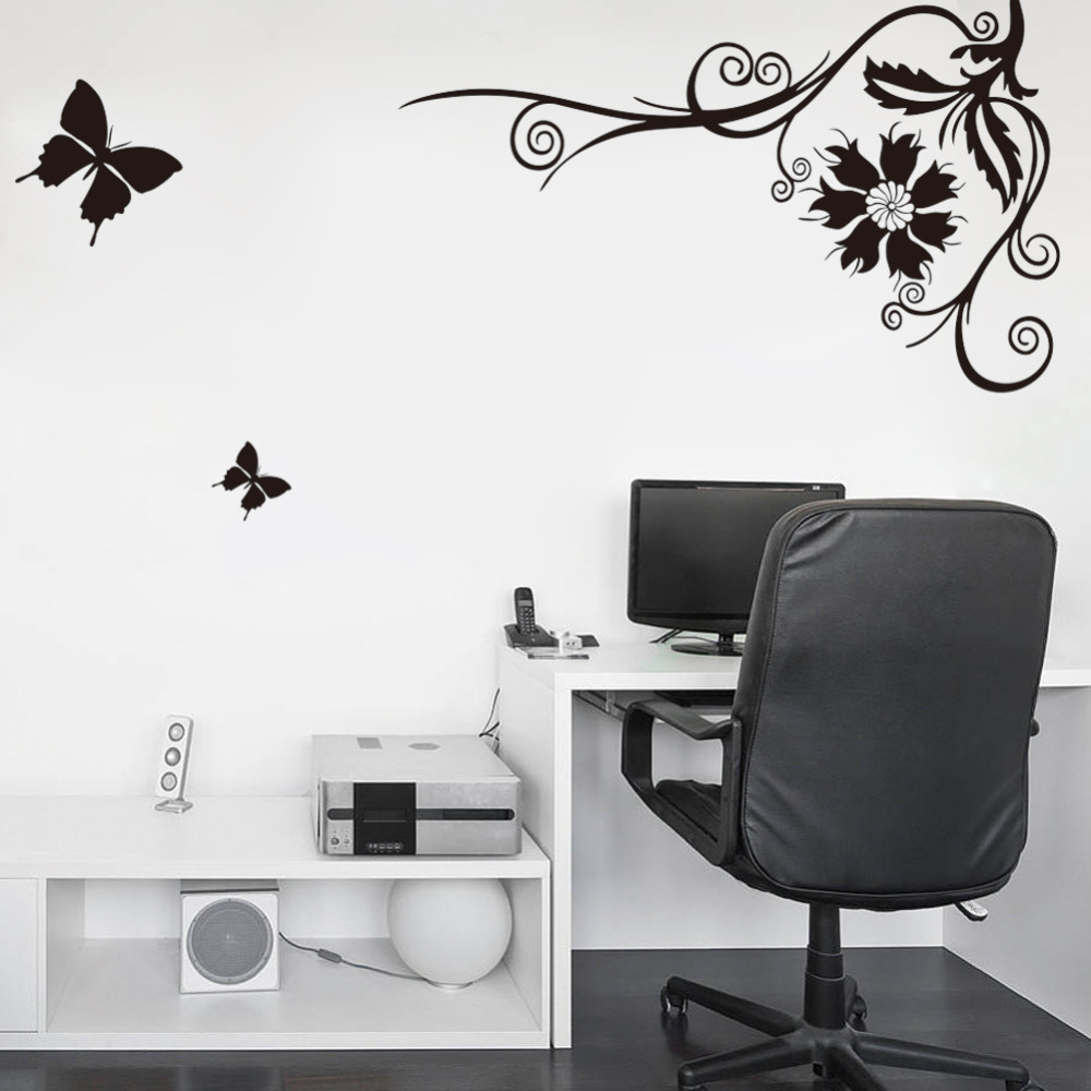 black butterfly flying flower vine wall stickers paper poster art black butterfly flying flower vine wall stickers paper poster art decal wall decor bedroom livingroom tv background decoration in wall stickers from home