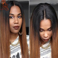 Cheap 1B/#30 Silky Straight Ombre Color Full Lace Wigs Two Tone Human Hair Straight Lace Front Wig For Black Woman Fast Shipping