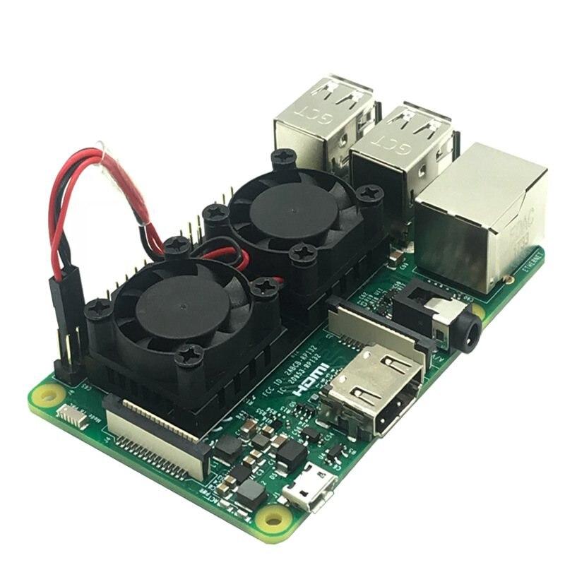 Raspberry Pi 3//2B 3B Dual Fan Cooling Raspberry Pi Fan Pure Aluminum Heatsink