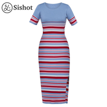 Sishot women casual bodycon dresses 2017 autumn blue stripes color block short sleeve o neck patchwork casual bodycon dress