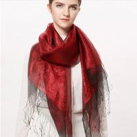Silk Scarf Women Pashmina Summer silk fabric Dark Red Fringed scarves Natural Fabric Soft&Warm High Quality Free Shipping