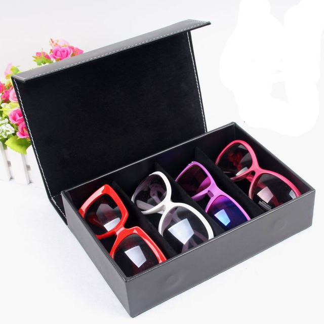 PU Leather Receive Case 4 Pairs Of Sunglasses Travel Case