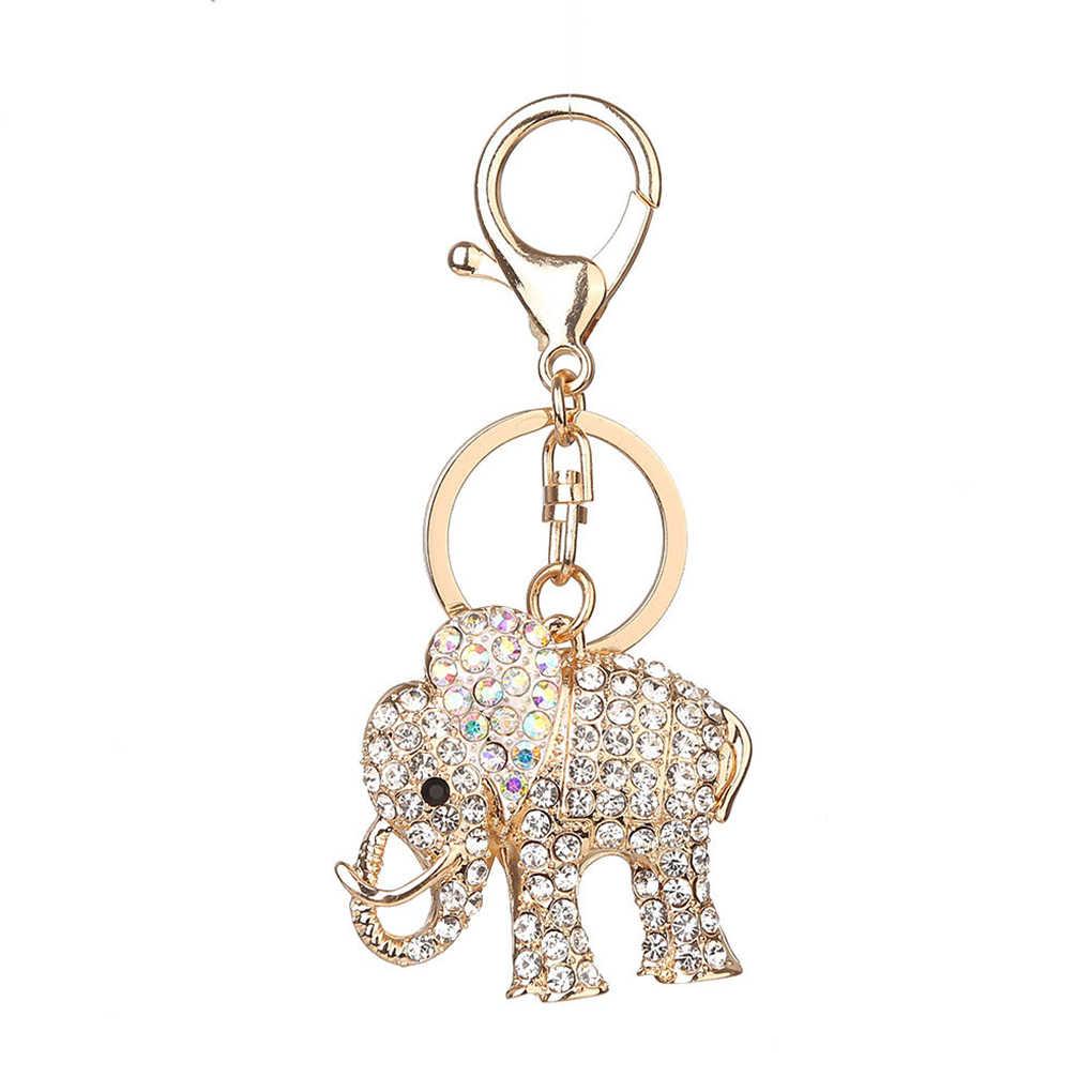 Elefante de cristal Em Forma de Pingente de Strass Chaveiro Animais Chaveiro da Chave Do Carro Fivela Chaveiro