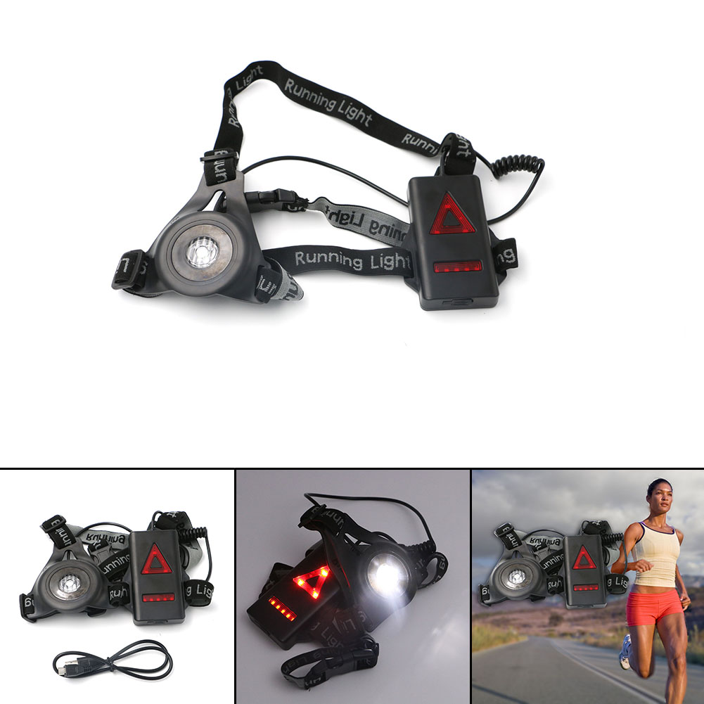8*Red LEDs + White LED Waterproof Chest Lamp Flashlight Red & White Night Running Light  Night Walk Safety Lamp + USB Cable red