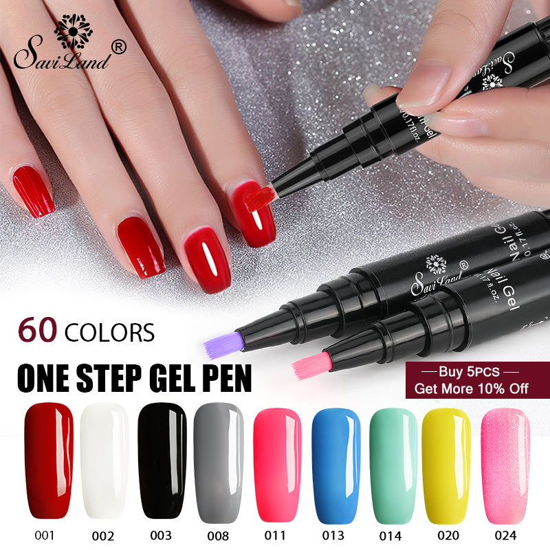 Saviland 3 In 1 Varnish Pen Glitter One Step Nail Art Gel Polish UV Gel Lacquer