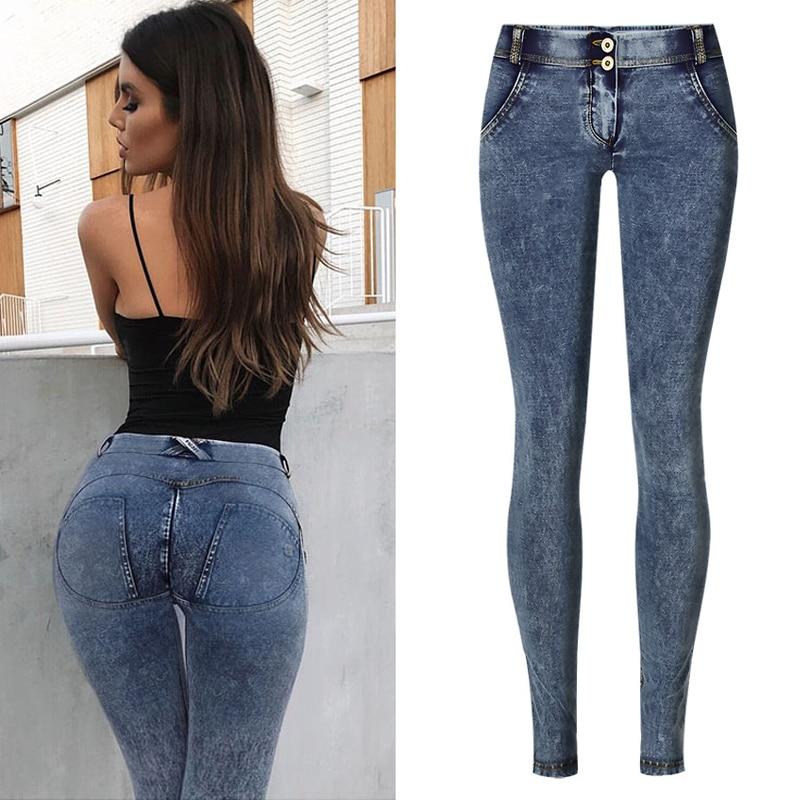 Pull On Denim Jeans Women Skinny Casual Strech Pencil Pants Push Up Leggings Peach Butt Lift Hip Low Waist Jeggings Plus Size XS