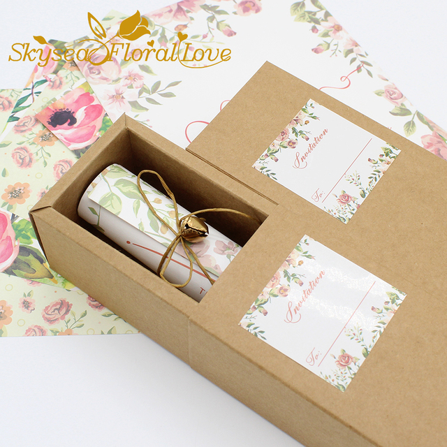 wedding invitation box marriage invitations card high quality kraft