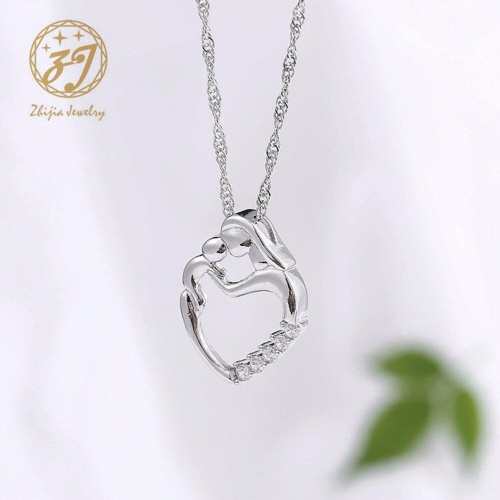 Nueva llegada regalos de moda plata mosaico collar de circón madre y - Bisutería - foto 5