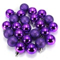 24Pcs Chic Christmas Baubles Tree Plain Glitter Chrismas Day Ornament Ball Decoration