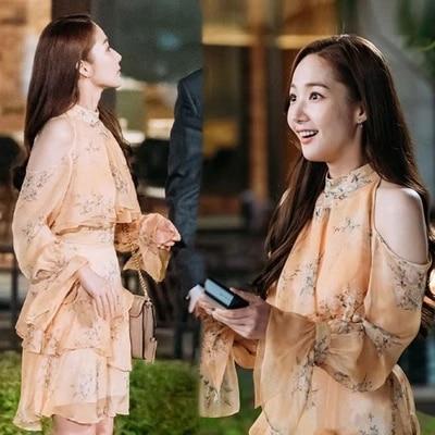 2 tailles S M grosse maman pourquoi secrétaire Kim même robe sourire Kim enceinte maternité femme fleur TV coréen drame Floral mousseline de soie