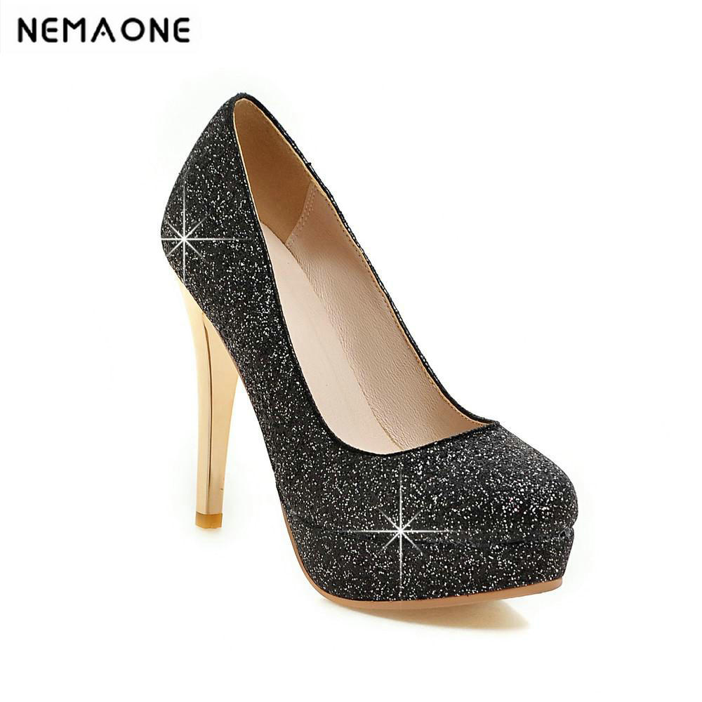 Women pumps round toe thin high heel bride wedding platform shoes lady silvery crystal rhinestone Sexy platform shoes nayiduyun women genuine leather wedge high heel pumps platform creepers round toe slip on casual shoes boots wedge sneakers