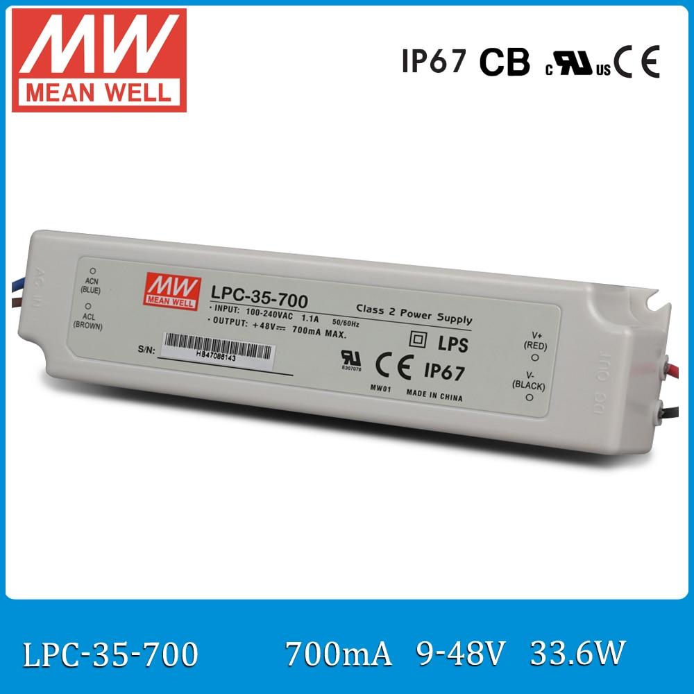 все цены на Original MEAN WELL LPC-35-700 LED Power Supply Constant Current 700mA output 33.6W 9 ~ 48V meanwell LED driver онлайн