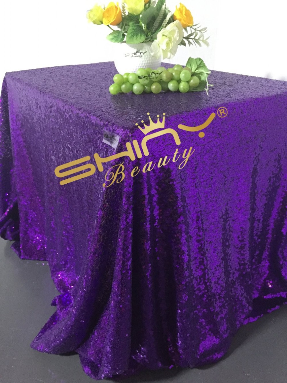 Free Shipping Shiny 96inchx96inch Square Purple Sequin Tablecloth Best  Wedding Decoration China  Mainland Compare Prices on Square Purple Tablecloth  Online Shopping Buy  . Purple Tablecloths For Wedding. Home Design Ideas