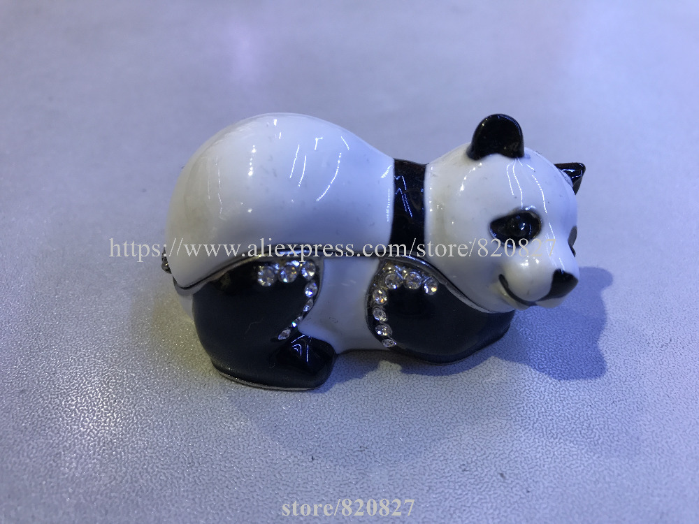 Adorable Fat Panda Bear Enameled Trinket Box w/ Magnetic Closure Panda Trinket Box Pewter and Enamel Animal Decor Bear Jewelry