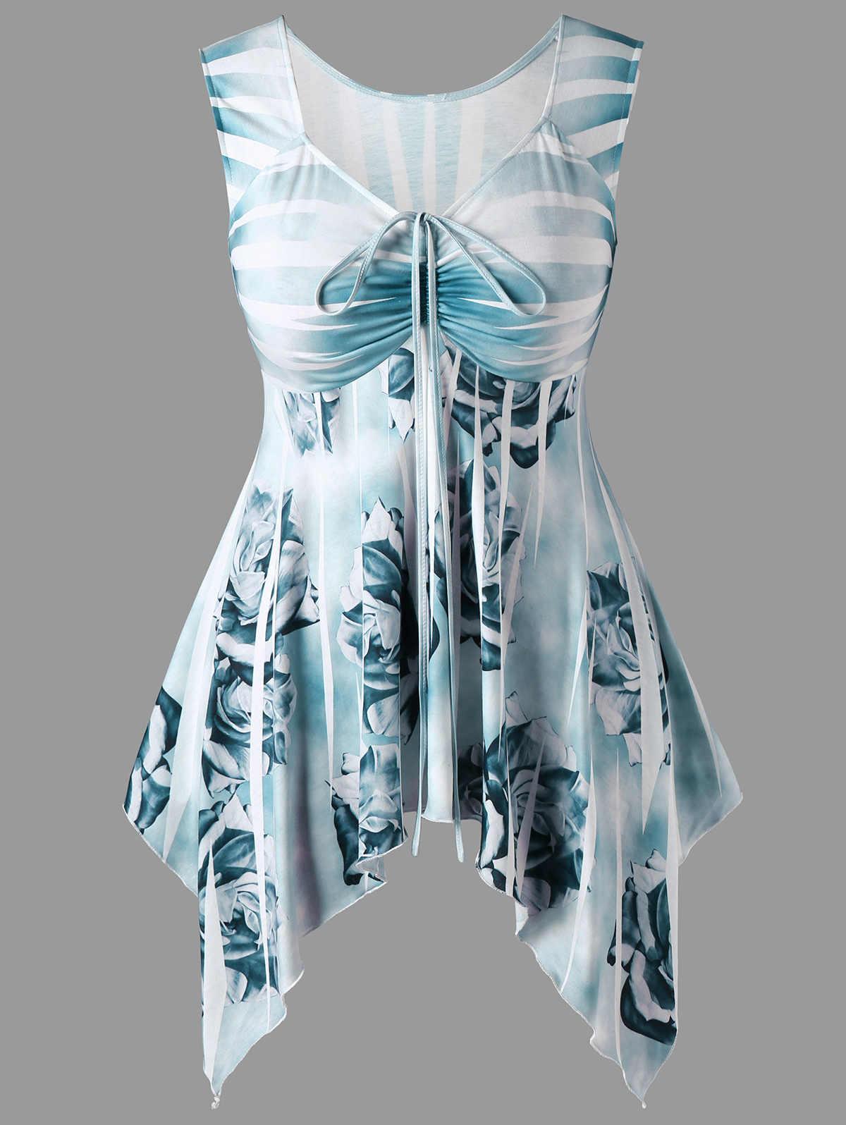Wipalo Летняя женская полосатая футболка с v-образным вырезом и рюшами размера плюс без рукавов Цветочный платок женские топы большого размера одежда 5XL