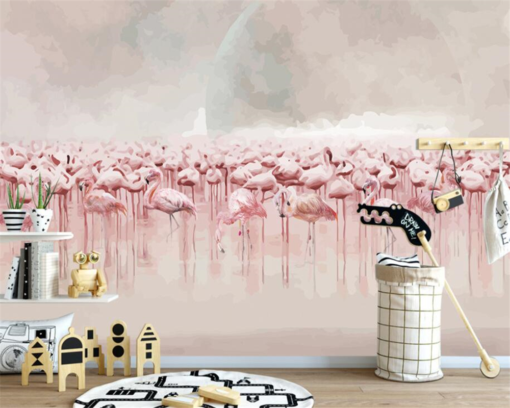 Beibehang customize 3d wallpaper murals nordic Hand Painted flamingos mural background wall wallpaper for walls 3 d tapety