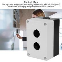 цена на 2pcs Button Switch Box 22mm Hole 2 Holes Button Control Box Equipment Lift Elevator Emergency Waterproof Button Box Case