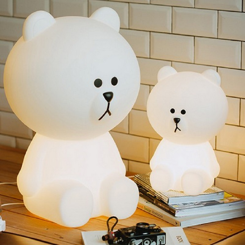 Bear Led Night Lights Dimmable Baby LED Night Lamps Bedroom Animal Cartoon Decorative Lamp Bedside Living Room Y2 - 4
