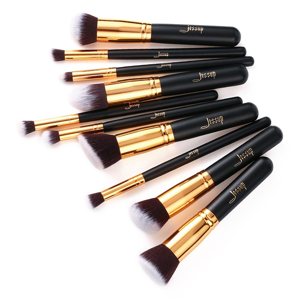 Image 5 - Jessup Brand 10pcs Black/Gold Makeup Brushes brushes Beauty Foundation Kabuki Cosmetics sets Makeup brush set blush Kit Tools-in Eye Shadow Applicator from Beauty & Health