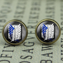 Japan Anime Attack on Titan brass Stud Earrings Women 12mm/0.47inch mens 1pair/lot New Cartoon drop shipping Dr Who Jewelry 2016