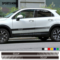 1 Pair Sports Mind Car Styling Car Door sticker Waist Line Stickers decal For FIAT 500x ABARTH sticker for car accessories