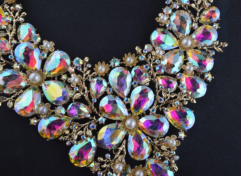 Haut de gamme collier de mariée boucles d'oreilles ensembles femmes déclaration de mariage décoration perle et AB dropwater bijoux ensembles de noël présent - 6