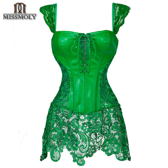 Miss Moly Women's Leather corset waist cincher corsets steampunk party sexy Intimates corselet bustiers gothic babyshaper S-6XL