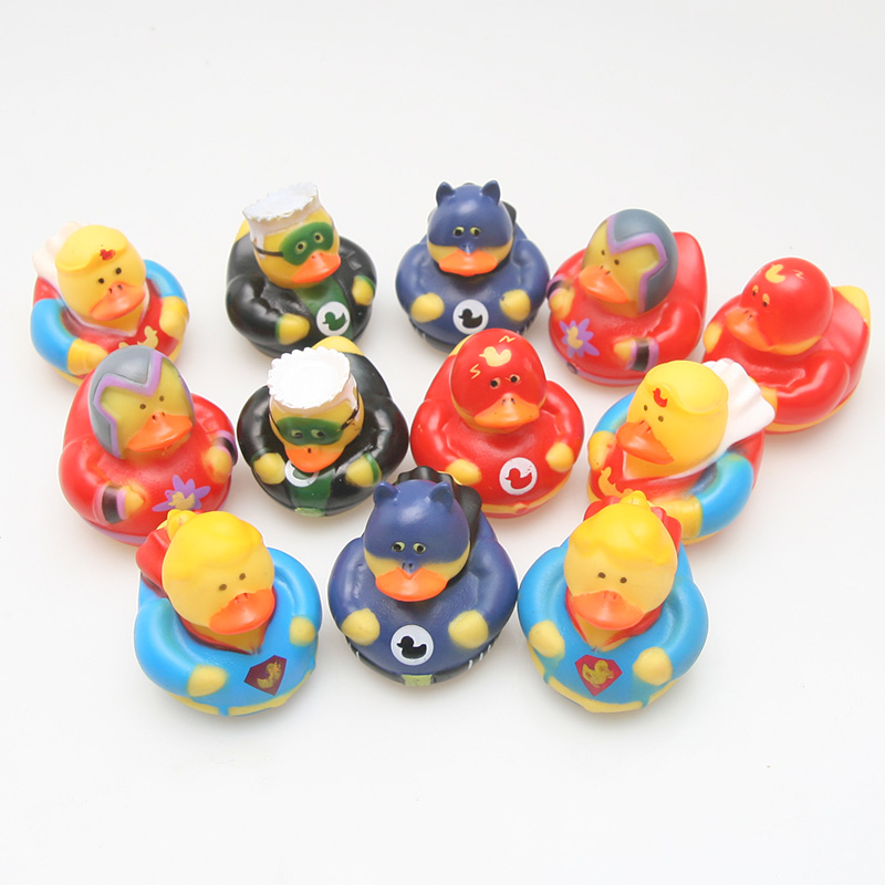 12pcs Classic Bath Room Toy Rubber Floating Duck Marvel Hero Series Cute Lovely Ducks Children Bath Shower Water Toy Game Gifts